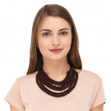 Brown multilayered black beads fabric necklace