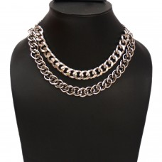 Unisex Figaro double strand stainless steel chain