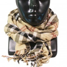 Unisex vintage scotish style beige plaid scarf