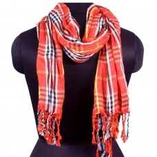 Unisex red tone plaid scarf