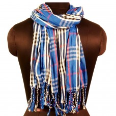 Unisex dark blue tone plaid scarf