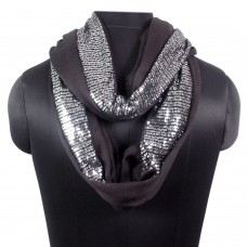 stylish black sequin party loop scarf