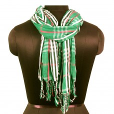 Unisex green tone plaid scarf