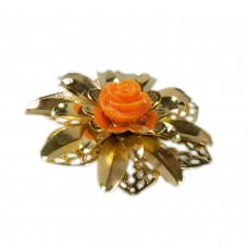 Golden designers flower brooch