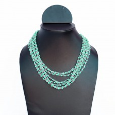 Contemporary Turquoise Chain and Beads Necklace