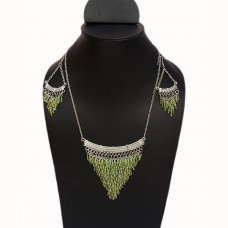 Triangle shaped green links silver necklace set
