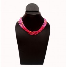 Stylish multibead layered pink necklace