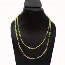 Delicate green glass bead necklace