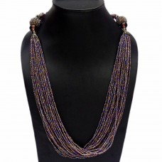 Elegant purple glass and seed bead necklace
