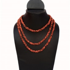 Long rustic orange seed bead necklace
