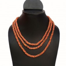 Long orange seed bead necklace
