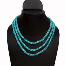 Long blue and silver seed bead necklace