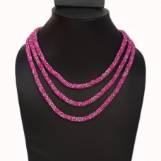 Long pink and transparent seed bead necklace