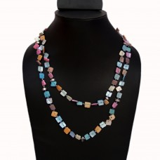 Multibead colorful square button necklace