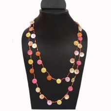 Multibead colored button necklace