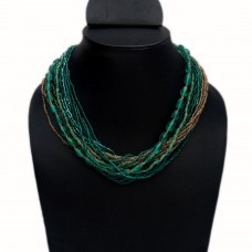 Green and yellow multistrand seed bead necklace