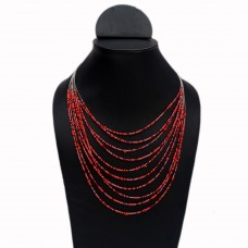 Multistrand red and orange beads wire necklace