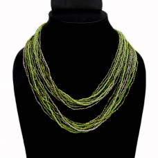 Green and transparent multistrand seed bead necklace
