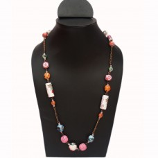 Printed multibead chain necklace