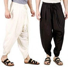 Pack of 2, Cotton Cambric Solid Ready to Wear Dhoti Pants, Elasticated Waistband and Pockets, Free Size