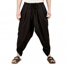 Mens Pure Cotton Dhoti Pants with Elasticated Waistband and Pockets Free Size (Black)