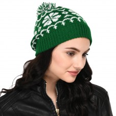Green and White Pom-Pom Hand-knitted Woollen beanie cap ; christmas cap hat