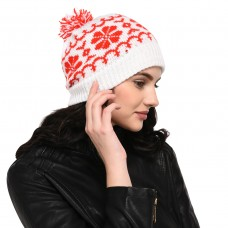 VR Designers White and Red pom-pom handknitted woolen beanie cap ; christmas cap hat
