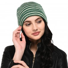 Cream and Green Stripes Pattern Hand-knitted Woollen Skull Cap