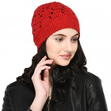 VR Designers red and black little hearts pattern handknitted woolen pom pom cap