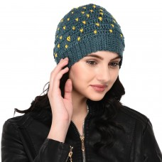 Blue and Yellow little hearts pattern handknitted woolen pom pom cap