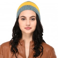 Grey and Yellow Elegant Hand-knitted woolen skull cap