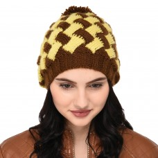 VR Designers brown and yellow crisscross pattern handknitted woolen pom pom cap
