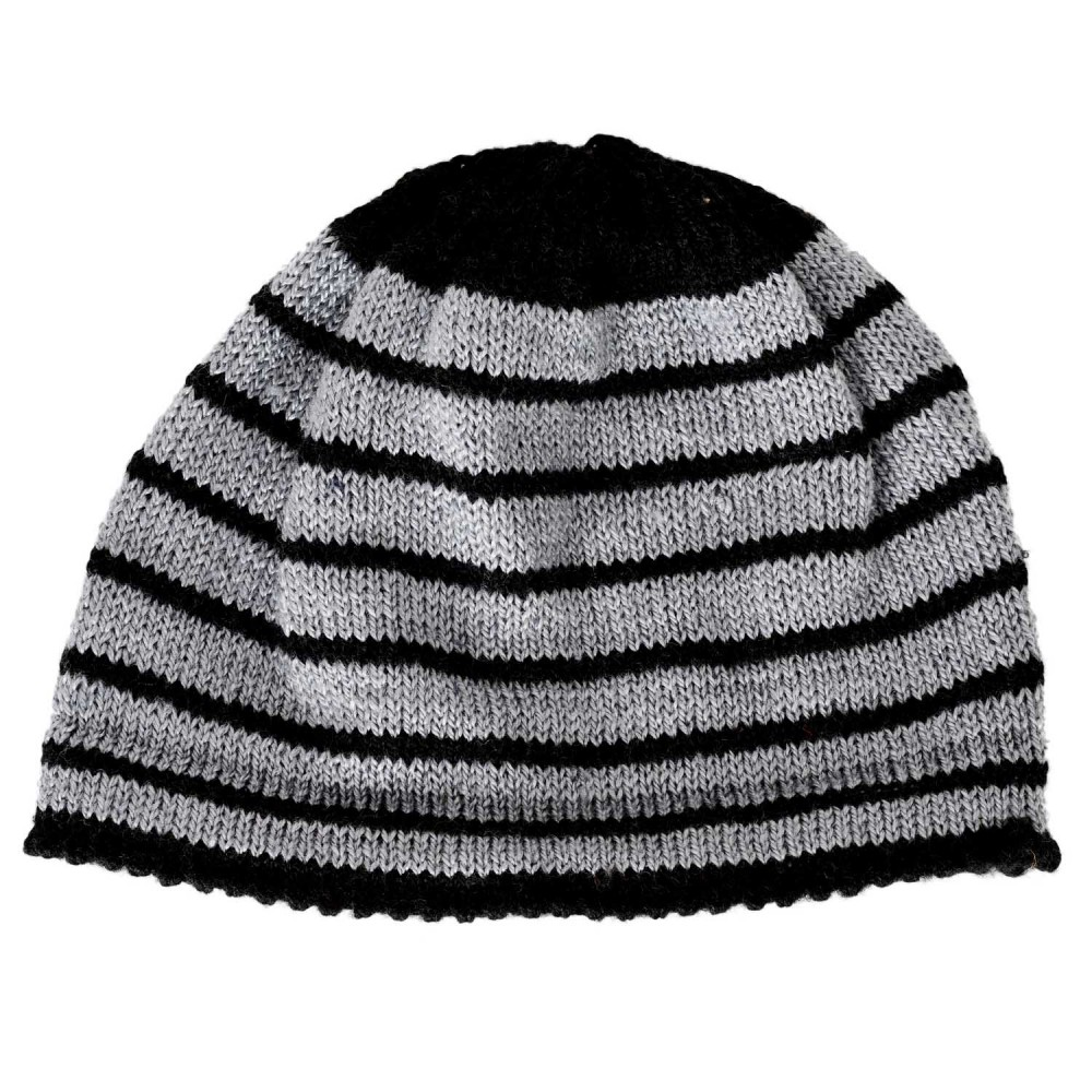 Grey And Black Stripes Pattern Handknitted Woolen Skull Cap