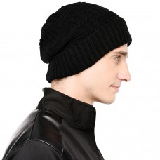 Black self  design winter woolen beanie cap