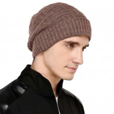Peanut brown self  design winter woolen beanie cap