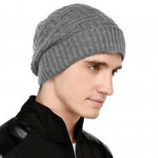 Light grey self  design winter woolen beanie cap
