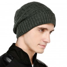 Olive green self  design winter woolen beanie cap