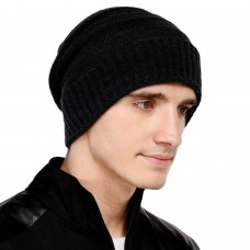 Black cable knit winter woolen beanie cap