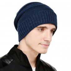 Blue cable knit winter woolen beanie cap