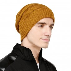 Mustard yellow cable knit winter woolen beanie cap