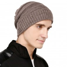 Peanut brown cable knit winter woolen beanie cap