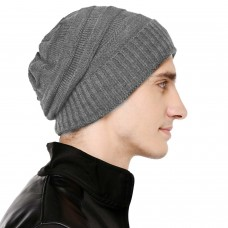 Light grey cable knit winter woolen beanie cap