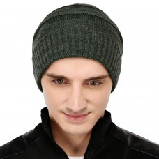 Olive green cable knit winter woolen beanie cap
