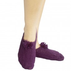 Bright purple hand knitted socks shoes