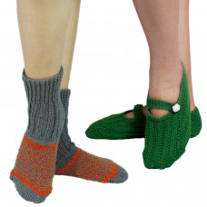 Set of two handknitted footie socks and kullu socks