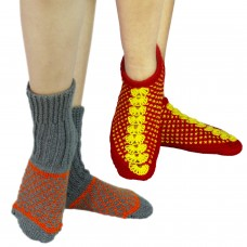 Set of two handknitted red footie socks and kullu socks