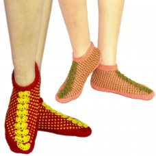 handknitted red footie socks and pink footie socks (Set of two )