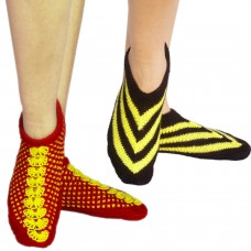 Handknitted red footie socks and yellow-black footie socks (Set of two)