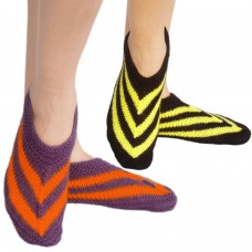 Set of two handknitted purple-orange footie socks and yellow-black footie socks