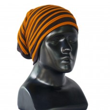 Black and orange jersey beanie cap